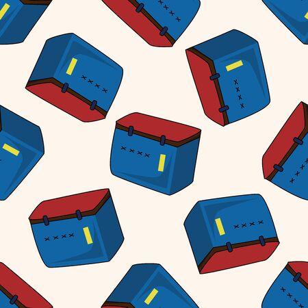 tackle box: fishing box , cartoon seamless pattern background Illustration