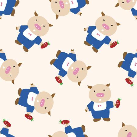 Three Little Pigs , cartoon seamless pattern background Vector