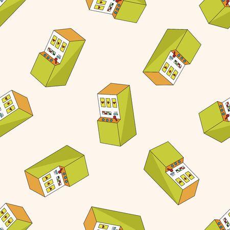 카지노 슬롯 머신, 만화 원활한 패턴 배경 일러스트