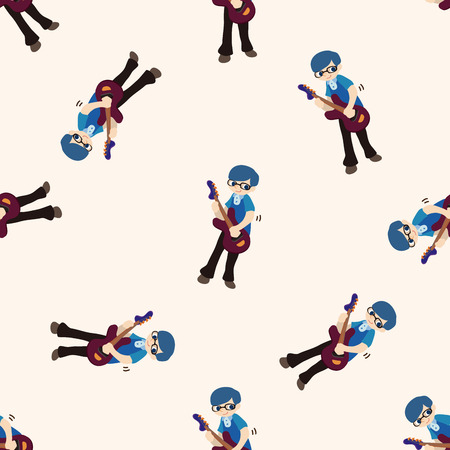 guy playing guitar: band member guitar player , cartoon seamless pattern background