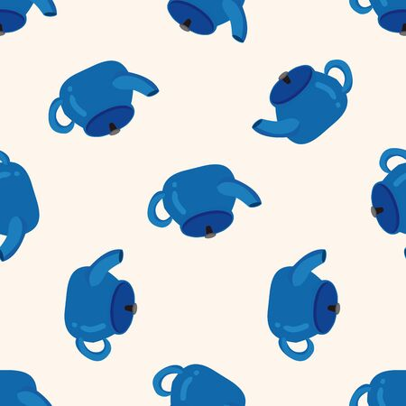 teakettle: kitchenware tea pot , cartoon seamless pattern background
