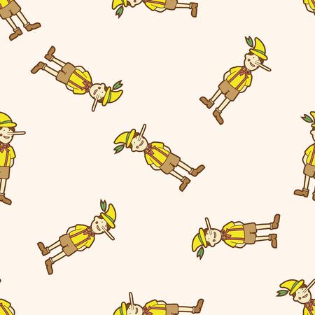 Pinocchio , cartoon seamless pattern background Vector