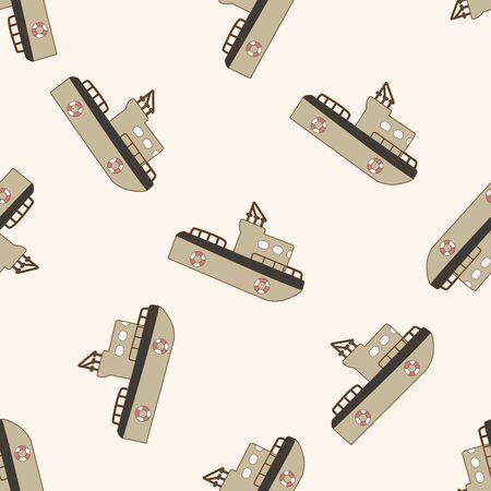 Transportation boat , cartoon seamless pattern background Vector