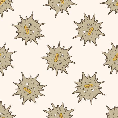 sea urchin: sea animal sea urchin cartoon , cartoon seamless pattern background