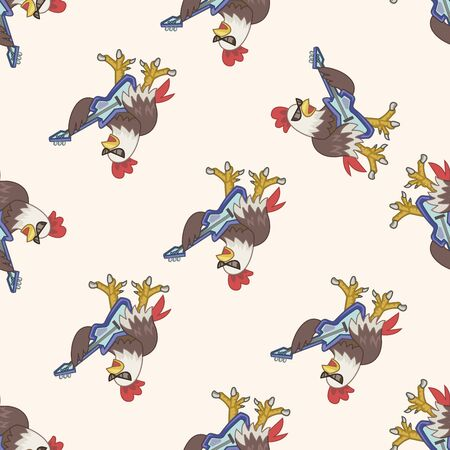 playing instrument: animal cock playing instrument cartoon , cartoon seamless pattern background