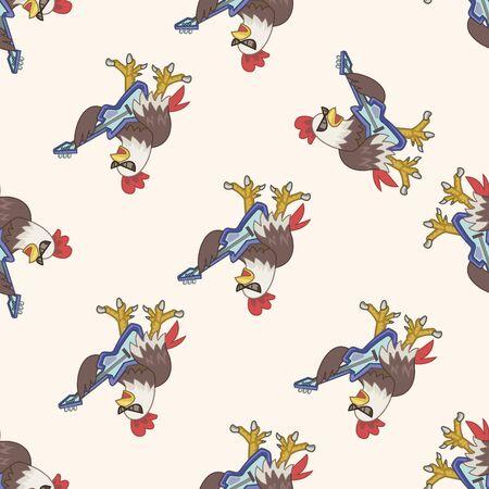 animal cock: animal cock playing instrument cartoon , cartoon seamless pattern background