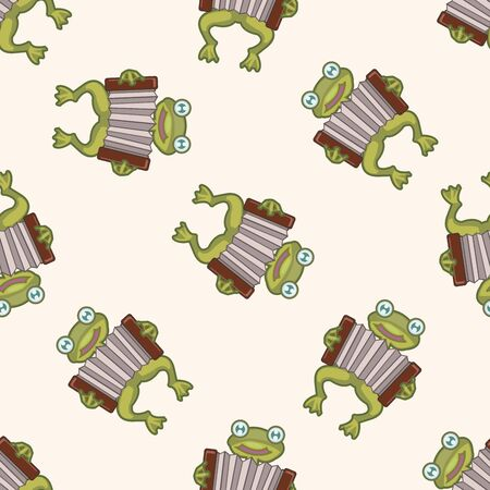 playing instrument: animal frog playing instrument cartoon , cartoon seamless pattern background