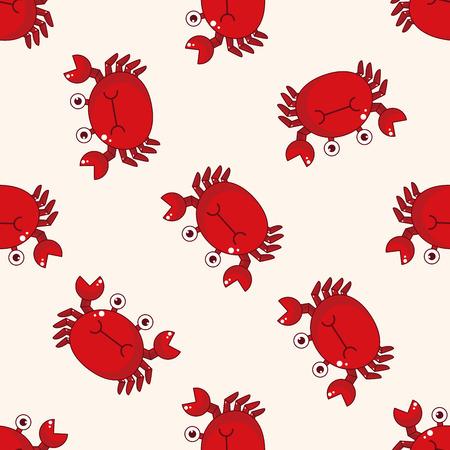 cangrejo: dibujo animado de cangrejo, dibujo animado fondo sin patrón Vectores