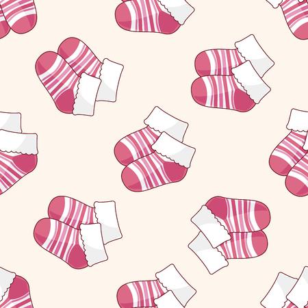 baby socks , cartoon seamless pattern background Illustration