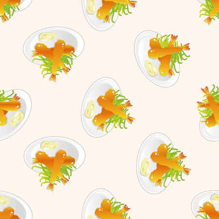 fried shrimp: japanese food theme Fried shrimp , cartoon seamless pattern background