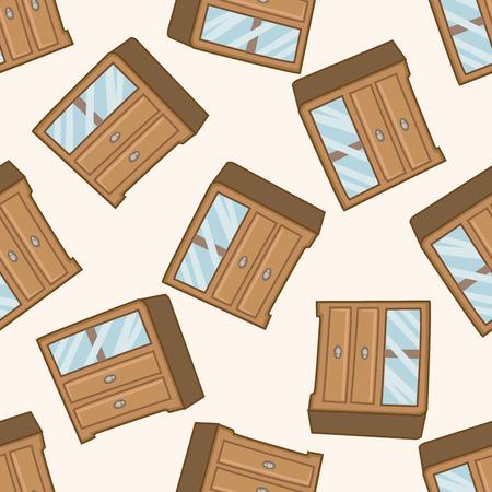 furniture theme cabinet , cartoon seamless pattern background Vector