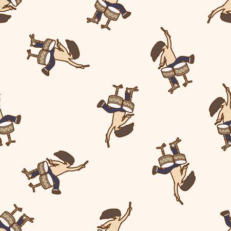 drummer: band member drummer , cartoon seamless pattern background Illustration