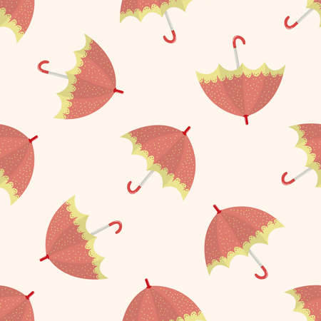 fall protection: Umbrella theme,emets , cartoon seamless pattern background Stock Photo