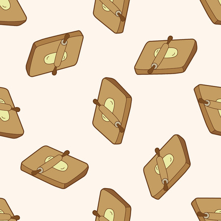 chopping: kitchenware chopping board and rolling pin , cartoon seamless pattern background Stock Photo
