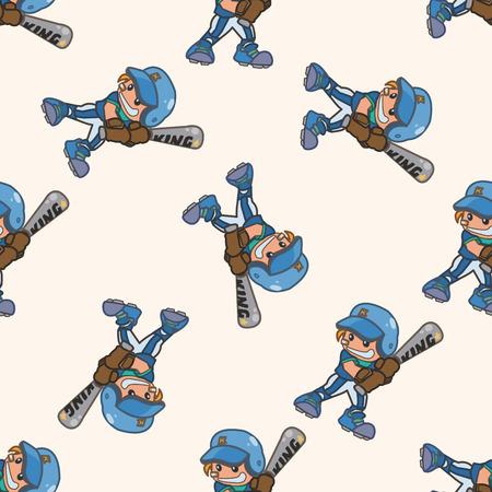 hit man: baseball player , cartoon seamless pattern background