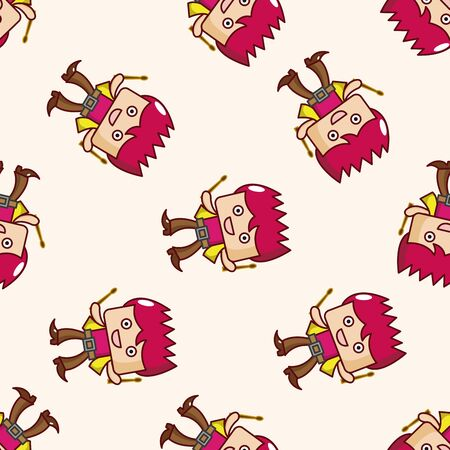 drummer: band member drummer , cartoon seamless pattern background Stock Photo