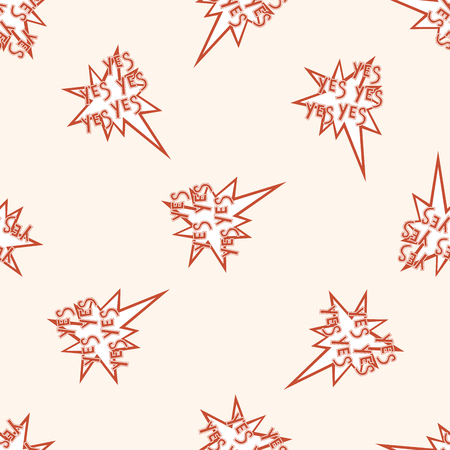 message word yes , cartoon seamless pattern background photo