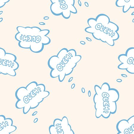 ouch: message word ouch , cartoon seamless pattern background