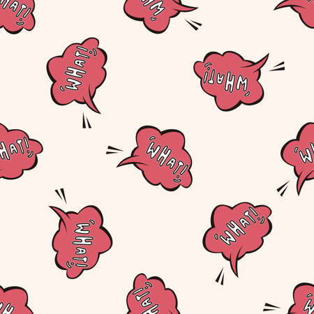 what: message word what , cartoon seamless pattern background
