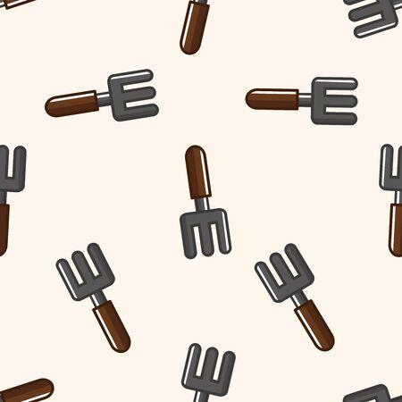 hand trowel: gardening shovel , cartoon seamless pattern background Stock Photo
