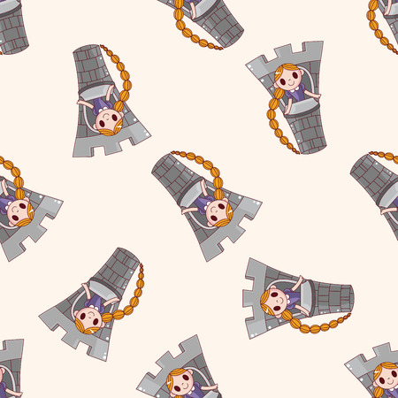 rapunzel: fairytale princess , cartoon seamless pattern background