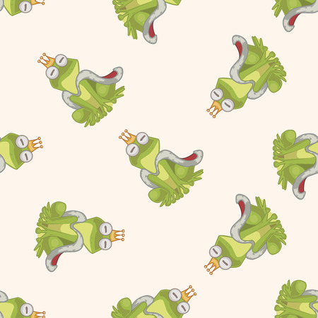 frog prince: Frog Prince , cartoon seamless pattern background Stock Photo