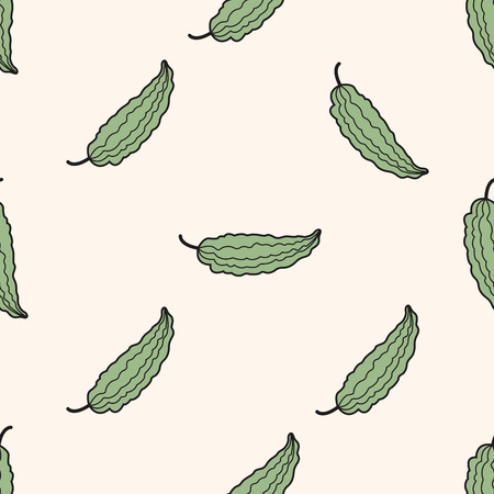 bitter: vegetable theme bitter , cartoon seamless pattern background Stock Photo