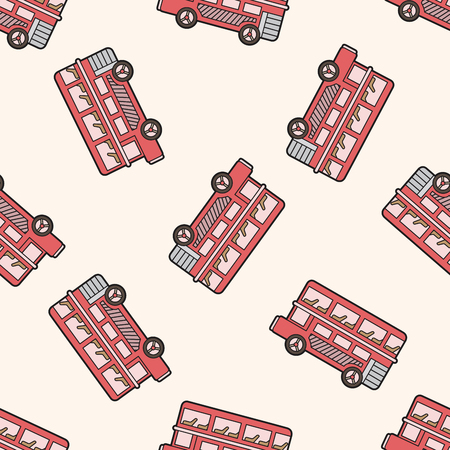 doubledecker: Double-decker bus , cartoon seamless pattern background