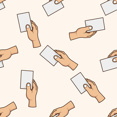 hand holding paper: carta tenendo la mano, cartone animato modello seamless Vettoriali