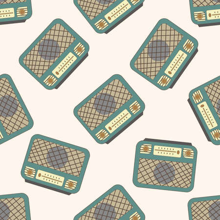 fm: radio , cartoon seamless pattern background