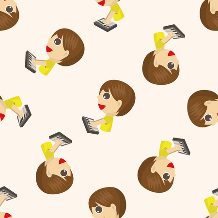 guy playing guitar: character musician , cartoon seamless pattern background