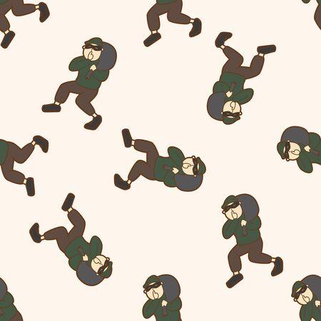 swag: thief , cartoon seamless pattern background