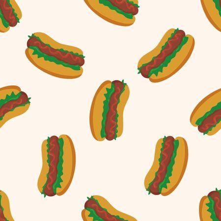 fried foods: Fried foods theme hot dog , cartoon seamless pattern background