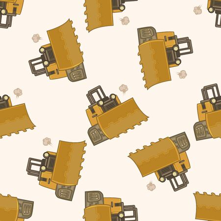excavating machine: Transportation excavator truck , cartoon seamless pattern background