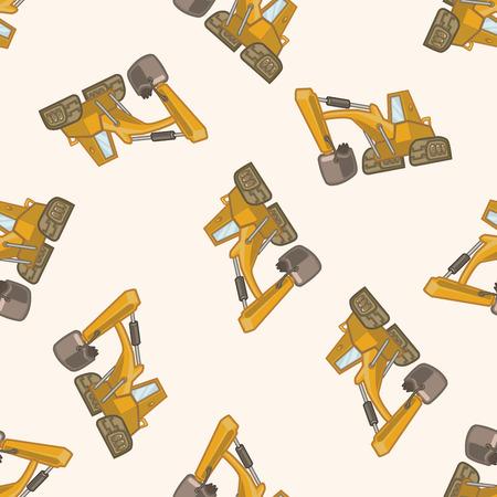 excavating: Transportation excavator truck , cartoon seamless pattern background