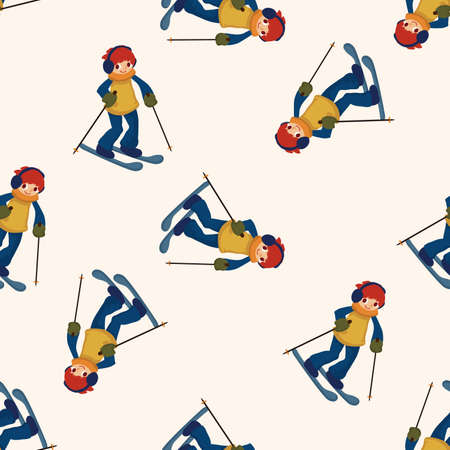 slope: Skiers , cartoon seamless pattern background