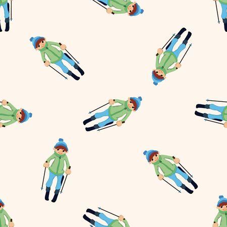 skiers: Skiers , cartoon seamless pattern background