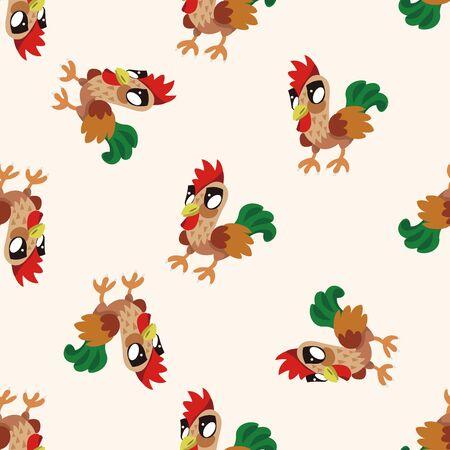 animal cock: animal cock cartoon , cartoon seamless pattern background Stock Photo