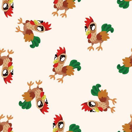 Animales gallo de dibujos animados, dibujos animados patrón de fondo sin fisuras Foto de archivo - 40742407