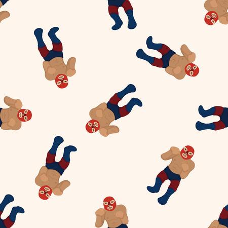 combative: Wrestler , cartoon seamless pattern background