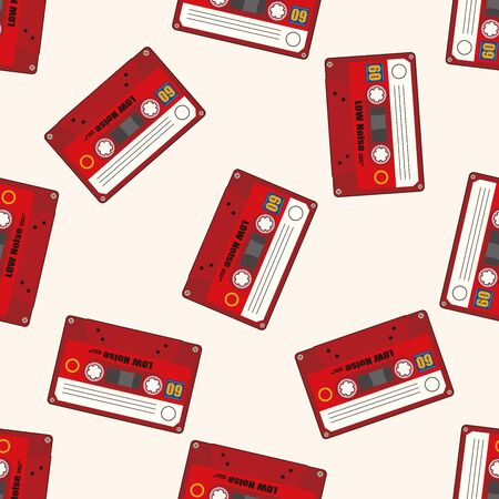 Audiotape , cartoon seamless pattern background photo