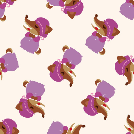girl in red dress: Wolf in Little Red Riding Hood , cartoon seamless pattern background