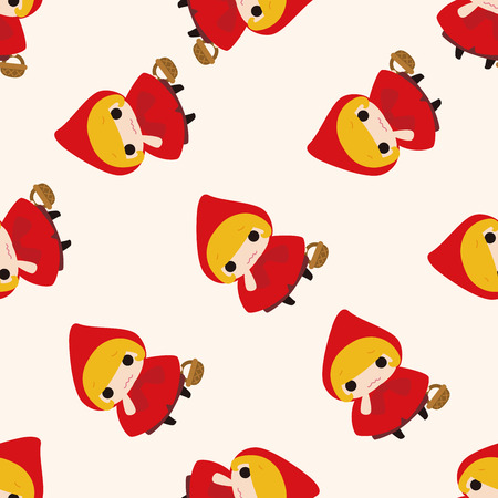 cartoon little red riding hood: fairytale princess , cartoon seamless pattern background