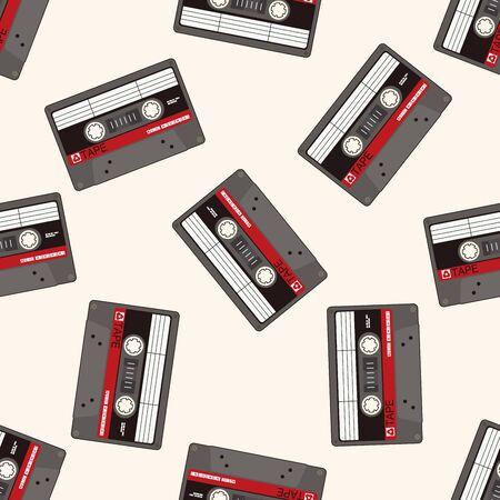 audiotape: Audiotape , cartoon seamless pattern background