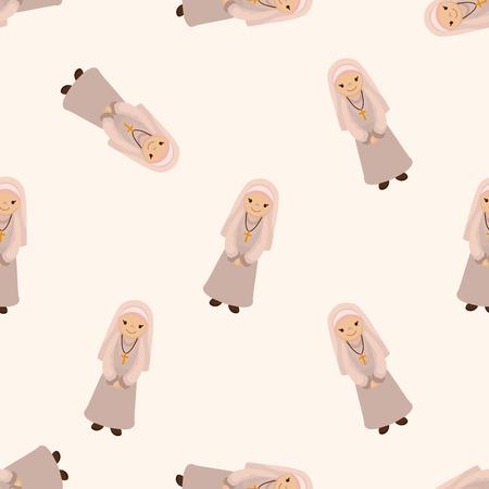 pastor: pastor and nun , cartoon seamless pattern background