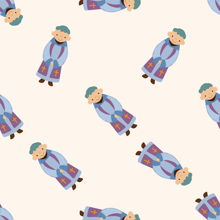 pastor: pastor and nun , cartoon seamless pattern background