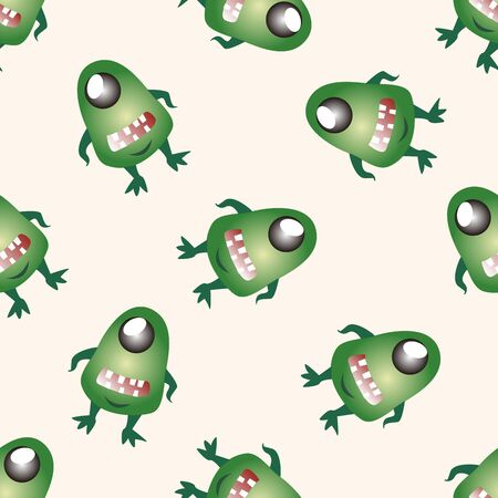 ugly mouth: monster cartoon , cartoon seamless pattern background Stock Photo