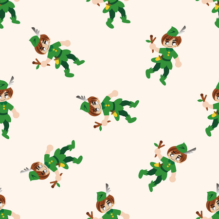 cartoon little red riding hood: Peter Pan , cartoon seamless pattern background Stock Photo