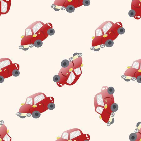 carro caricatura: coche de transporte, de dibujos animados patrón de fondo sin fisuras Foto de archivo