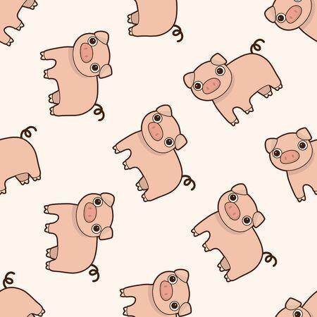 Historieta del cerdo de animales, dibujos animados patrón de fondo sin fisuras Foto de archivo - 40732697